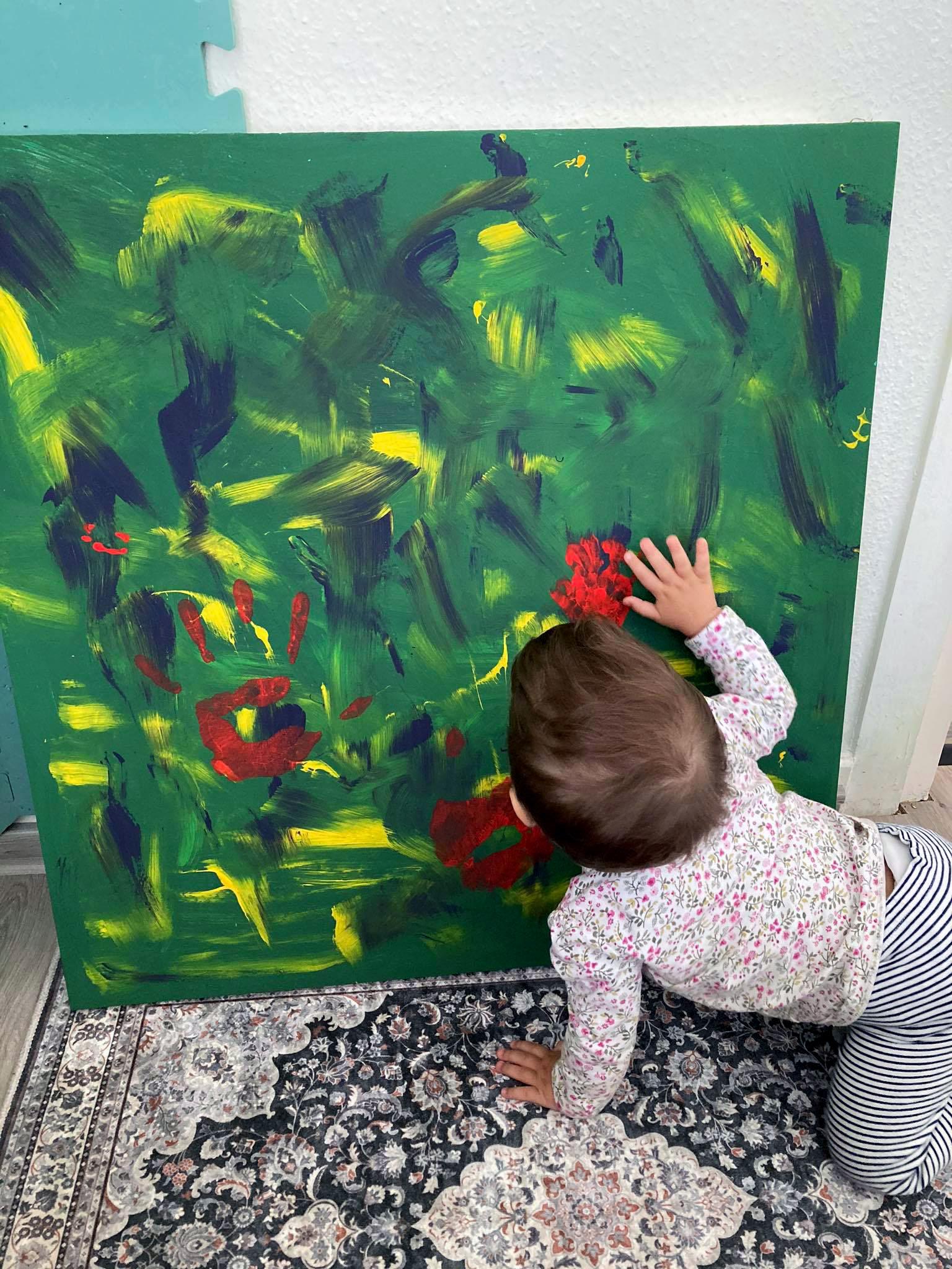 Impro Painting otthon almafával és bárányokkal